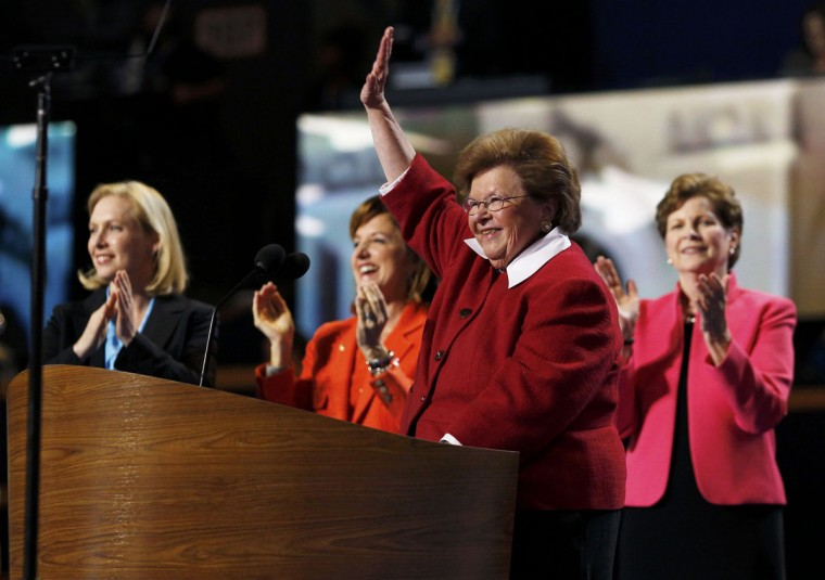 U.S. Senator Barbara Mikulski (D-MD) is applauded by fellow female members of the U.S. Senate after addressing the second session of the Democratic National Convention in Charlotte, North Carolina September 5, 2012. (Jessica Rinaldi/Reuters)