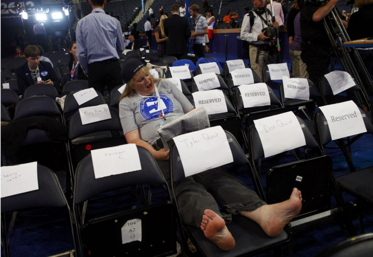 Colorado delegate Beth-Anne Thomas yawns while waiting for the final session of the Democratic National Convention to start in Charlotte, North Carolina September 6, 2012. (Eric Thayer/Reuters)