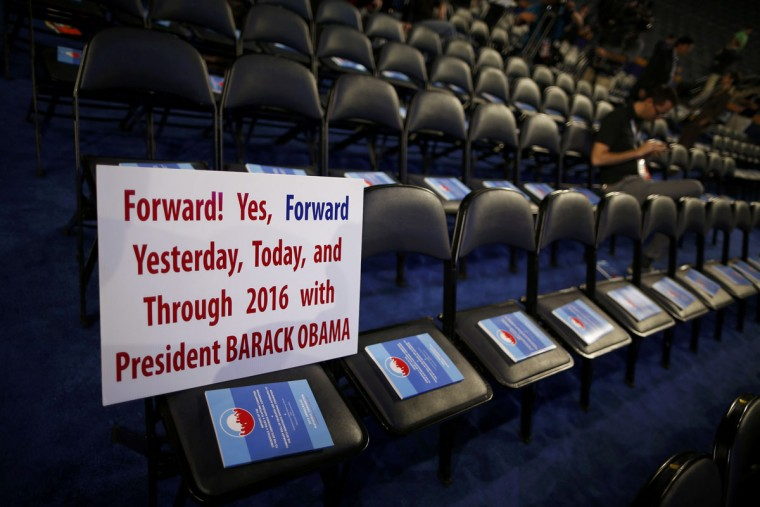 A sign supporting President Barack Obama is placed on a chair ahead of the first day of the 2012 Democratic National Convention in Charlotte, North Carolina, September 4, 2012. (Jim Young/Reuters)