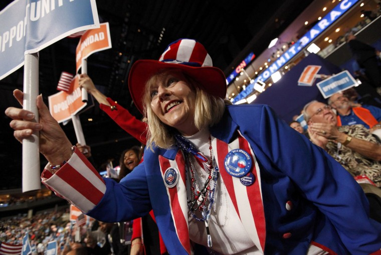 Pam Martin, a Florida delegate from the Florida Keys, cheers during the first session of the Democratic National Convention in Charlotte, North Carolina, September 4, 2012. (Jonathan Ernst/Reuters)