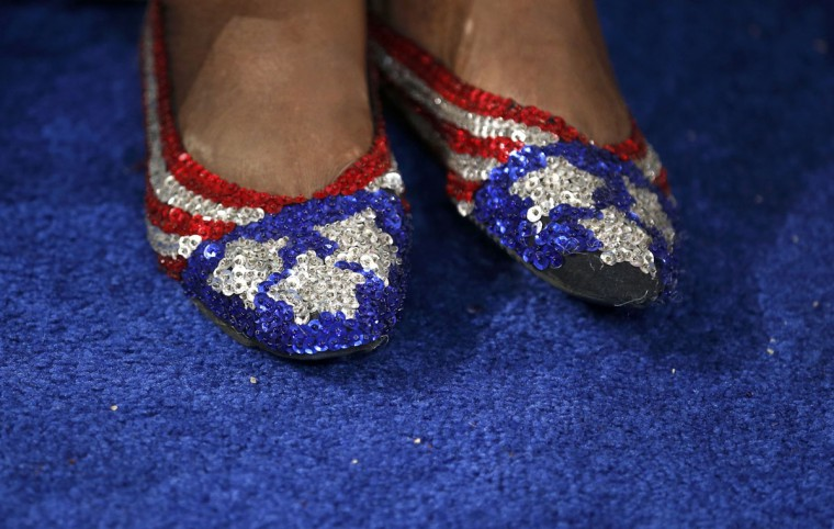 A delegate sports sequin shoes while attending the second session of Democratic National Convention in Charlotte, North Carolina, September 5, 2012. (Jim Young/Reuters)