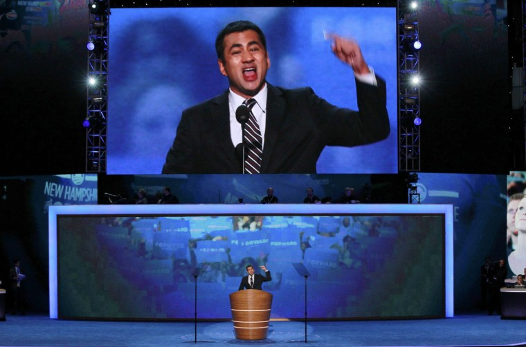 Actor Kal Penn addresses delegates during the first day of the Democratic National Convention in Charlotte, North Carolina, September 4, 2012. (Jason Reed/Reuters)