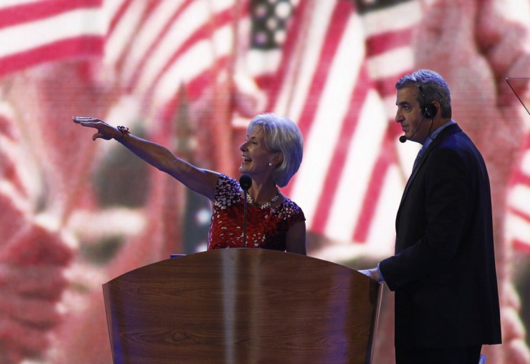 U.S. Secretary of Health and Human Services (HHS) Kathleen Sebelius tours the stage during a walk-through on the first day of the Democratic National Convention in Charlotte, North Carolina September 4, 2012. (Jason Reed/Reuters)