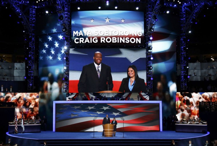 U.S. first lady Michelle Obama's brother Craig Robinson and President Obama's sister Maya Soetoro-ng address delegates during the first day of the Democratic National Convention in Charlotte, North Carolina, September 4, 2012. (Jason Reed/Reuters)