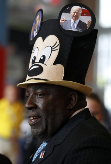 Edgar Baker Phillips of the U.S. Virgin Islands wears a Mickey Mouse tophat as he awaits the start of the first day of the Democratic National Convention in Charlotte, North Carolina, September 4, 2012. (Jessica Rinaldi/Reuters)
