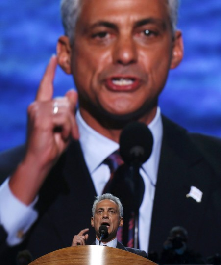 Chicago mayor Rahm Emanuel addresses delegates at the 2012 Democratic National Convention in Charlotte, North Carolina, September 4, 2012. (Jim Young/Reuters)