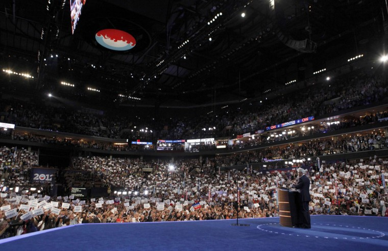Former U.S. President Bill Clinton addresses the second session of the Democratic National Convention in Charlotte, North Carolina, September 5, 2012. (Larry Downing/Reuters)