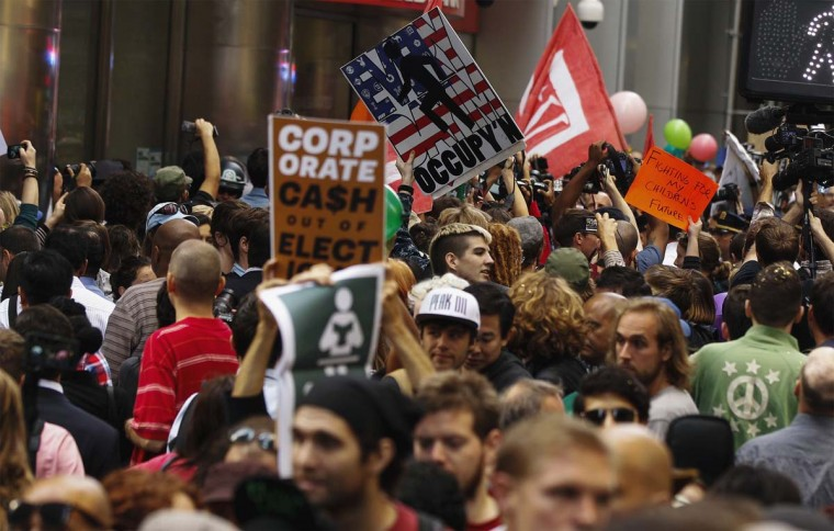 Occupy Wall Street activists demonstrate in the financial district during the one-year anniversary of the movement in New York. (REUTERS/Lucas Jackson)