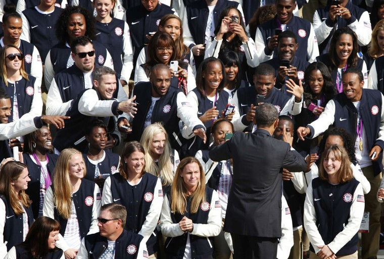 U.S. President Barack Obama greets members of the 2012 U.S. Olympic and Paralympic teams at the White House. (Jonathan Ernst/Reuters)