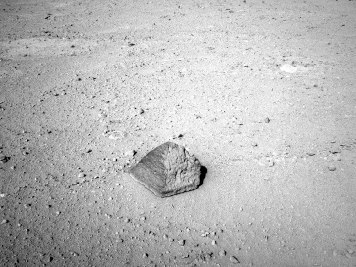September 19, 2012: The drive by Mars rover Curiosity during the mission's 43rd Martian day, or sol, ended with this rock about 8 feet (2.5 meters) in front of the rover. The rock is about 10 inches (25 centimeters) tall and 16 inches (40 centimeters) wide. The rover team has assessed it as a suitable target for the first use of Curiosity's contact instruments on a rock. (NASA/JPL-Caltech/Handout/Reuters)