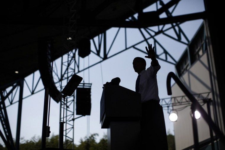 U.S. President Barack Obama participates in an election campaign rally in Virginia Beach, September 27, 2012. (Jason Reed/Reuters)