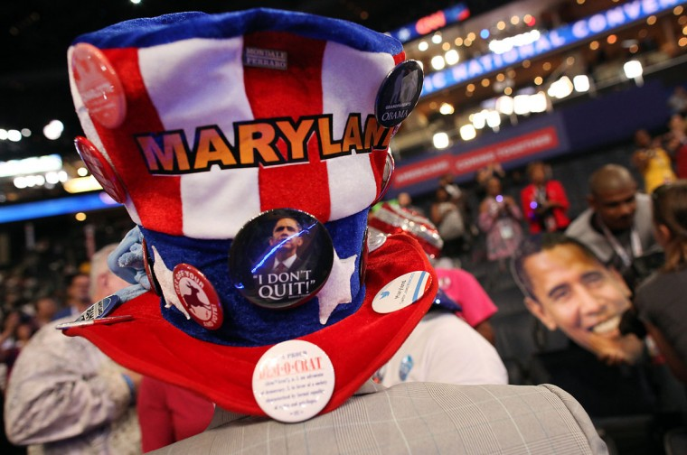 A Maryland delegate wears a festive hat at the Democratic National Convention 2012 at Time Warner Cable Arena September 6 2012 in Charlotte. (Brian van der Brug/Los Angeles Times)