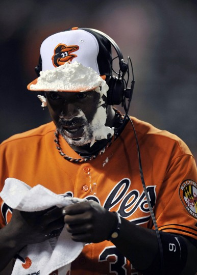 May 12, 2012: Orioles left fielder Bill Hall reacts after being hit with a shaving cream pie following a May 12, 2012 game against the Rays at Oriole Park at Camden Yards. (Joy R. Absalon/US Presswire)