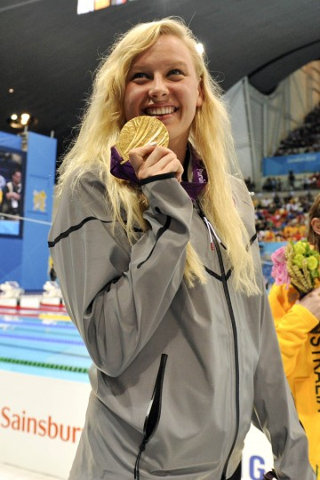 Jessica Long (USA) poses after receiving her gold medal from the women's 400m freestyle-S8 during the London 2012 Paralympic Games at Aquatics Centre. (Andrew Fielding/US PRESSWIRE)
