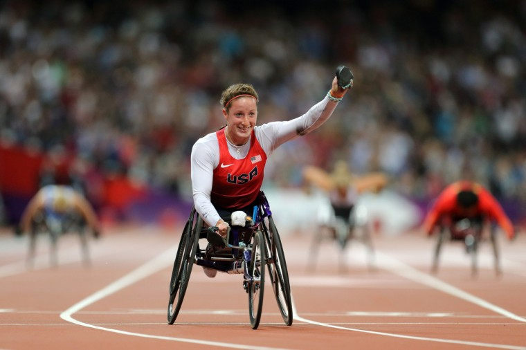 Tatyana McFadden of the USA wins the Gold Medal in the Women's 400m T54 final during the London 2012 Paralympic Games at Olympic Stadium. (Paul Cunningham/US PRESSWIRE)