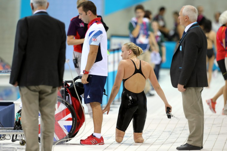 Jessica Long (USA) on the pool deck after swimming in the women's 50m freestyle S7 final during the London 2012 Paralympic Games at Aquatics Centre. (Paul Cunningham/US PRESSWIRE)