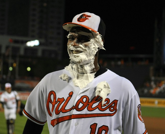 Sept. 6, 2012: Orioles center fielder Adam Jones is covered in shaving cream after a 10-6 win over the Yankees at Oriole Park at Camden Yards. (Joy R. Absalon/US Presswire)
