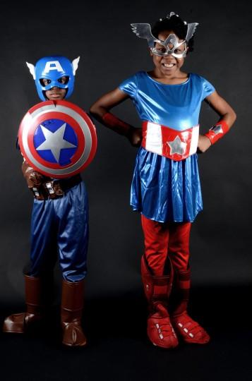 Captains America -- Gabriel Porter and Lauryn Foreman, Elkridge. Baltimore Comic-Con. (Credit: J.M. Giordano)