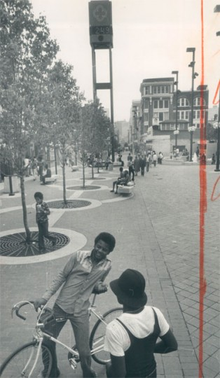 April 26, 1976 - Live trees were planted around the mall, and a large fountain was installed in the center. (Baltimore Sun archives)