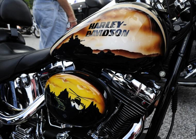 Dr. Edward Hoedebecke's 2006 Fat Boy has the Harley-Davidson Military edition package paint job. (Matt Button/Aegis Staff)