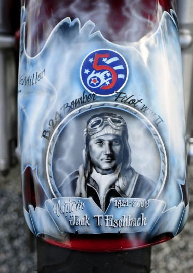 A tribute to the late Captain Jack T. Fischbach custom painted on the front fernder of B.J. Fischbach's 2009 Harley-Davidson Road Glide. (Matt Button/Aegis Staff)