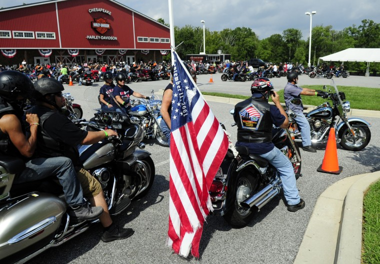 With engines revving, riders prepare to head on for Saturday's Patriot Day Ride. (Matt Button/Aegis Staff)