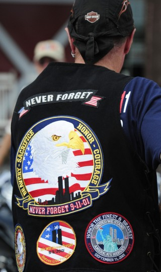 One of the many vests worn in tribute to those lost on 9/11 at Saturday's Patriot Day Ride starting at Chesapeake Harley-Davidson. (Matt Button/Aegis Staff)