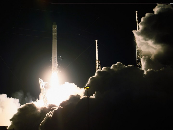 October 7, 2012: A SpaceX Falcon 9 rocket attached to the cargo-only capsule called Dragon lifts off from the launch pad on in Cape Canaveral, Florida. (Joe Raedle/Getty Images)