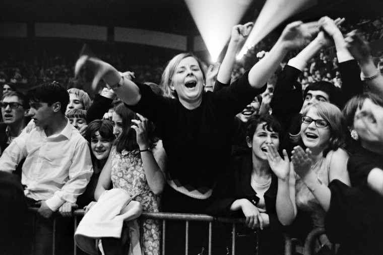 French fans wait for the Beatles during Beatles' concert in France at Palais des Sports in Paris, on June 20, 1965. English band The Beatles make two performances at the Palais des Sports before of starting a tour of France, Italy and Spain and then a tour in United States during summer 1965. (Getty Images)