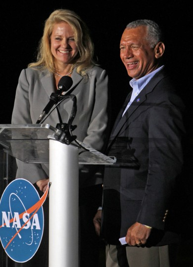 October 7, 2012: Gwynne Shotwell, left, president of SpaceX and Charles Bolden, NASA administrator, smile after Falcon 9 rocket carrying a Dragon blasts off Sunday on a historic launch from Cape Canaveral Air Force Station. (Red Huber/Orlando Sentinel/MCT)