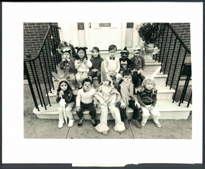 School kids dress up in costume. Oct. 22, 1986. (Walter McCardell/Baltimore Sun)