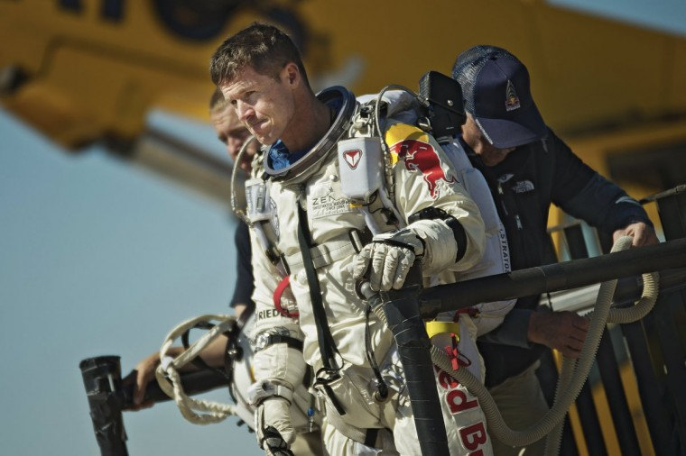 October 9, 2012: In this handout from Red Bull Stratos, Pilot Felix Baumgartner of Austria reacts after his mission was aborted after his mission was aborted in Roswell, New Mexico. (Red Bull Stratos via Getty Images)