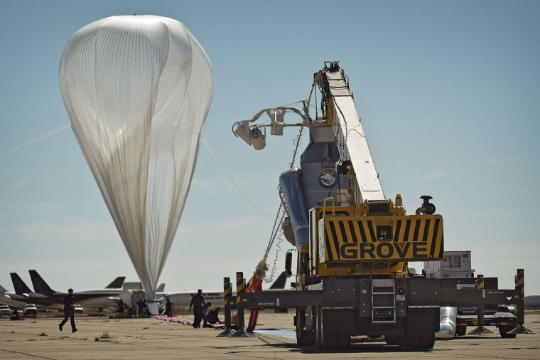 October 9, 2012: In this handout from Red Bull Stratos, the high altitude balloon twists in the wind before the final manned flight for Red Bull Stratos in Roswell, New Mexico. (Red Bull Stratos via Getty Images)