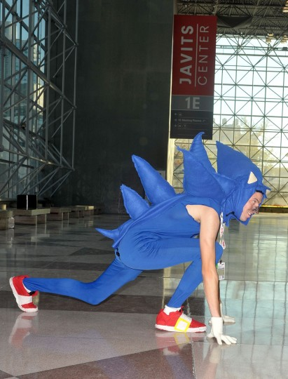 A Comic Con attendee wearing a Sonic the Hedgehog costume poses during the 2012 New York Comic Con at the Javits Center in New York City. (Daniel Zuchnik/Getty Images)