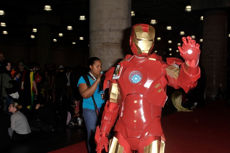 A Comic Con attendee wearing an Iron Man costume poses during the 2012 New York Comic Con at the Javits Center. (Daniel Zuchnik/Getty Images)