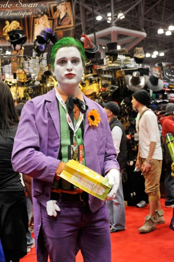 A Comic Con attendee wearing a Joker costume poses during the 2012 New York Comic Con. (Daniel Zuchnik/Getty Images)