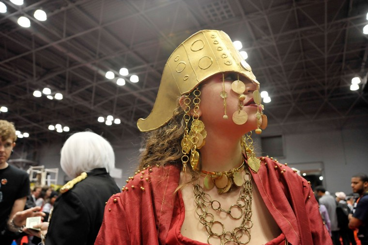 A Comic Con attendee wearing a costume poses during the 2012 New York Comic Con. (Daniel Zuchnik/Getty Images)