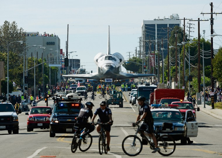 The space shuttle Endeavour is transported to the California Science Center in Exposition Park from Los Angeles International Airport (LAX) in Los Angeles, California. (Kevork Djansezian/Getty Images)