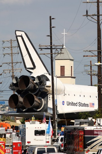 The space shuttle Endeavour is transported to the California Science Center in Exposition Park from Los Angeles International Airport (LAX) in Los Angeles, California. (David McNew/Getty Images)