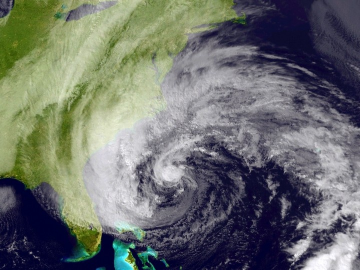In this handout satellite image provided by National Oceanic and Atmospheric Administration (NOAA), Hurricane Sandy, pictured at 1745Z, churns off the east coast in the Atlantic Ocean. Sandy which has already claimed over 50 lives in the Caribbean is predicted to bring heavy winds and floodwaters to the mid-atlantic region. (NASA via Getty Images)