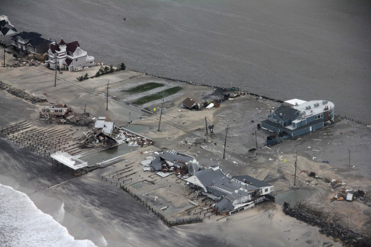 The property damage along the New Jersey coast caused by Hurricane Sandy. (Petty Officer 2nd Class Erik Swanson/U.S. Coast Guard via Getty Images)