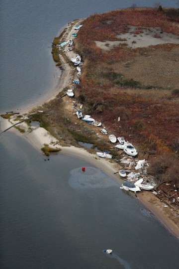 Boats are strewn amid wreckage from Superstorm Sandy in Sea Bright, New Jersey. (Mario Tama/Getty Images)