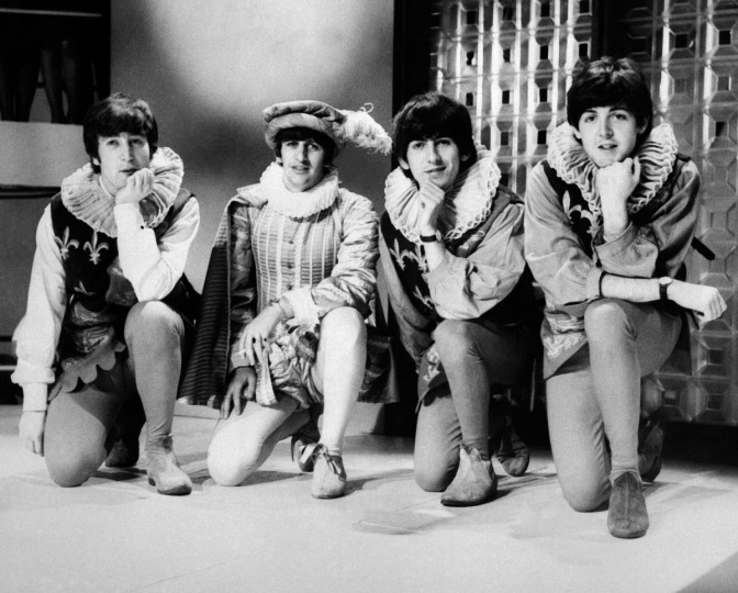 The Beatles (from L), John Lennon, Ringo Starr, George Harrison, and Paul McCartney pose during a rehearsal of William Shakespeare's A Midsummer night's dream on April 29, 1964, in London. (GettyImages)