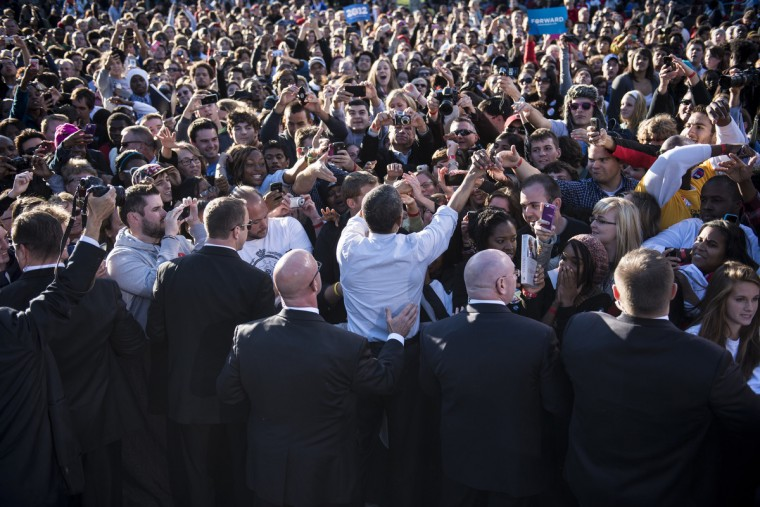 US President Barack Obama greets supporters after speaking during a campaign event at the Oval at Ohio State University in Columbus, Ohio. Obama is on the final day of a three day trip to California and Ohio for campaigning and speaking at the Cesar Chavez memorial. (Brendan Smialowski/GettyImages)