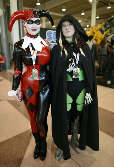 Becky and Hannah Snow from England arrive for the opening session of the 2012 New York Comic Con at the Jacob Javits Center. (Timothy Clary/Getty Images)