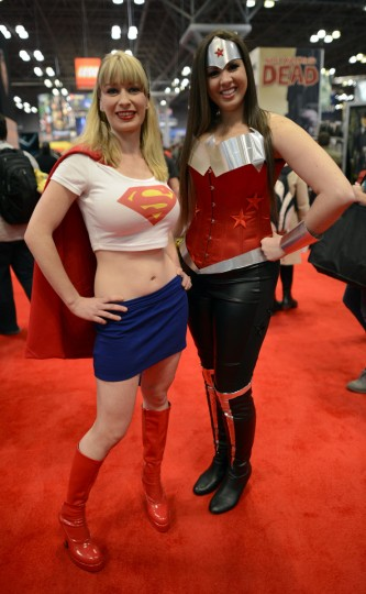 Alyssa Carlson and Helene Waldemarson arrive for the opening session of the 2012 New York Comic Con. (Timothy Clary/Getty Images)