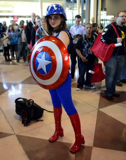 Sasha Maglio and other fans arrive for the opening session of the 2012 New York Comic Con at the Jacob Javits Center. (Timothy Clary/Getty Images)