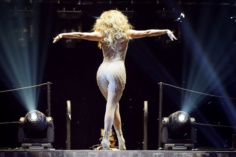 US actress and singer Jennifer Lopez, Aka JLo, performs on stage on at the Bercy (POPB) concert hall. (Kenzo Tribouillard/Getty Images)