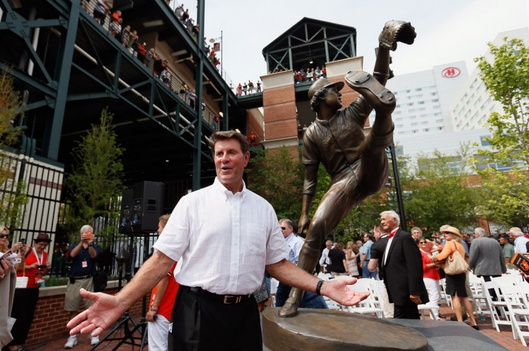 Former Baltimore Orioles player Jim Palmer poses for a photo after the team unveiled a statue of the hall of fame pitcher before the start of the Orioles and Detroit Tigers game at Oriole Park at Camden Yards on July 14, 2012 in Baltimore, Maryland. (Rob Carr/Getty Images)