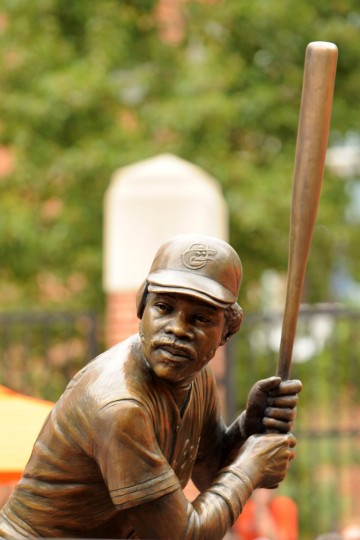 The bronze sculpture of former Baltimore Orioles player Eddie Murray stands in the Legends Garden before a baseball game against the Kansas City Royals on August 11, 2012 at Oriole Park at Camden Yards in Baltimore, Maryland. (Mitchell Layton/Getty Images)